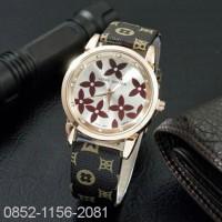 Jam Tangan Wanita / Cewek Louis Vuitton LV SK15 Leather Black Brown