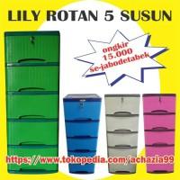 Jual lily lemari plastik murah 5 susun motif rotan Murah