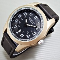 Jam Tangan Pria Victorinox Swiss Army Leather Black Silver