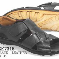 Sandal/Sepatu Bustong Casual - Pria Kulit | Hitam -