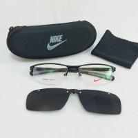 harga Frame Kacamata Minus Nike Clip On SM 7385 Half Polarized Pria Hitam Tokopedia.com