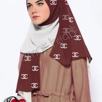 Hijab/Jilbab Pashmina 2-Tone Chanel Mocca-White