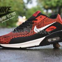 Sepatu Sport Nike Air Max 90 Preium Import / Merah Hitam / Sneakers Ca