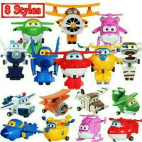 8pc SUPER WINGS SuperWings Pesawat Action Figure Mainan Miniatur