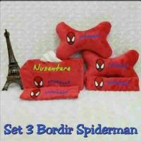 Jual set 3 bordir spiderman Murah
