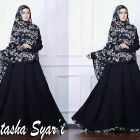 Gamis Syari Natasha Muslimah Hijab Motif Bunga Polos Cantik A088