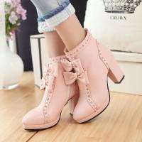 harga Sepatu Boot Cewek Wanita Korea High Heels Salem Modis Casual Murah Tokopedia.com