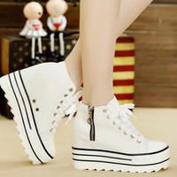 harga Sepatu Boot Sneaker Cewek Wanita Korea Putih Replika Kickers Modis Tokopedia.com