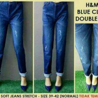 Celana Jeans Wanita, Jeans Ripped H&M Blue Claw DOUBLE BIGSIZE (39-42)
