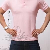 Baju kaos wangki polo shirt polos cowok pria casual bagus premium pink