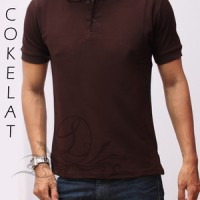 Baju kaos wangki polo shirt polos cowok pria casual bagus murah coklat