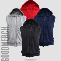 Jual Vest / Sleeveless / Rompi Hoodie Zipper Polos 'HIGH QUALITY' Murah