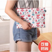 map kulit motif buah fruits colorful pouch cute document bag sma008