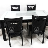 Meja Makan MA MM601 + 6 Kursi - Hitam