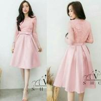 Dress (M - Fit L) VIVON - Brokat Satin Import - Good Quality
