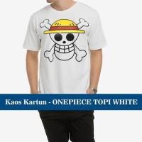 Jual Kaos Distro Baju T-Shirt Murah Anime Film Kartun One Piece Topi Putih Murah
