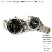 jam tangan couple alba stainless old hitam fullset
