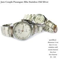 jam tangan obral couple alba stainless old silver fullset