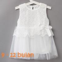Jual Dress bayi baju bayi perempuan impor renda pita 9 - 12 bulan putih Murah
