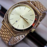 jam tangan nixon gold silver tanggal rantai cewek cowok wanita pria