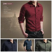 Jual Kemeja Pria Lengan Panjang Slimfit Trend Fashion Pakaian Pria 2017 Murah