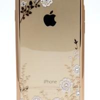 Case silikon iPhone 6, 6+ Motif Bunga White Gold
