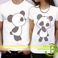 Kaos Cowok / Cewek - T Shirt - Kaos Couple Kissing Love Panda Kartun