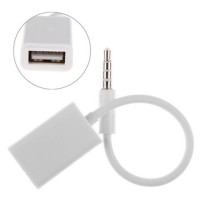 AUX Audio Plug Jack 3.5mm Male to USB 2.0 Female Adapter - White
