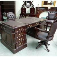 set meja dan kursi kantor mahoni