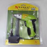 Bor Cordless Drill / Screwdriver NANKAI 4,8 V + 1 Set Mata Obeng 12 Pc