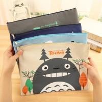Jual zipper paper bag / tas kanvas dengan sleting motif totoro A4 Murah