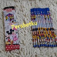 Pencil 2B / Pensil Kayu Tulis Karakter Mickey Mouse Minnie 12pcs