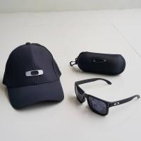 harga PAKET TOPI & KACAMATA OAKLEY BLACK LOGO SILVER | BASEBALL PRIA COWOK Tokopedia.com