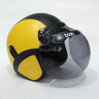 Helm Bogo Retro Kulit Warna Kuning Hitam Klasik Sudah Sni HBCL MTXHLM