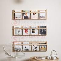 Rak Buku Dinding Jati Belanda Cocok Untuk Ruang Minimalis atau Kosan