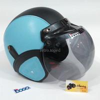 Helm Bogo Retro Kulit Warna Biru Muda Sky Hitam Klasik Sudah Sni HBCL
