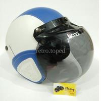 Helm Bogo Retro Dewasa Kulit Classy Klasik Sni Warna Putih Biru Klasik