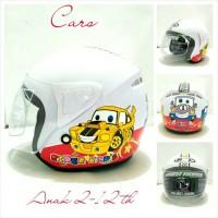 Helm Anak Retro Kaca NTC Motif Cars Putih SNI
