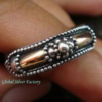 Cincin Perak Motif Bali Lapis Emas 22kt GPR-125