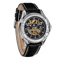 Ouyawei Skeleton Leather Strap Automatic Mechanical Watch - OYW1227