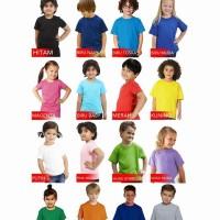 Grosir Kaos Polos Anak Warna Warni size 2 (4-5th) Murah