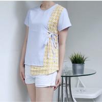 atasan bahan linen kombinasi batik model kimono