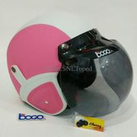 Jual Helm Bogo Retro Dewasa Kulit Classy Klasik Sni Warna Pink Putih Klasik Murah