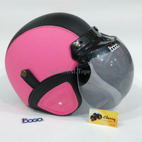 Helm Bogo Retro Kulit Warna Pink Hitam Klasik Sudah Sni HBCL MTXHLM