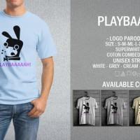Kaos Playbaaah Logo Playboy Magazine T-Shirt Raglan Distro