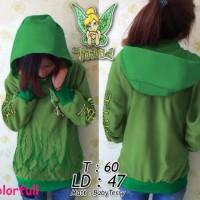 yb# jaket tinkerbell* hoodie hijau* sweater wanita* fashion jaket
