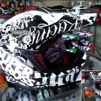 Helm GM Racing Star Black White Supermoto Supercross Fullface
