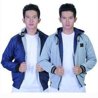 Hot Product Jaket Bolak Balik Pria dua warna Bahan Parasut dan F