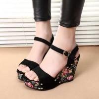 Jual Wedges Motif bunga kode ON 01 | Sepatu Wanita | Wedges Bunga On 01 Murah