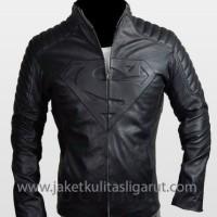 Jual jaket kulit semi model superman Murah